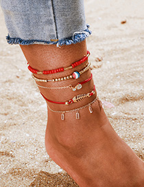 Fashion Red Oil Drop Rice Beads Diamond Fish Bone Multilayer Anklet Set Of 5