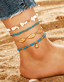 Fashion Blue Gravel Shell Multi-layer Rice Pearl Conch Anklet 4-piece Set