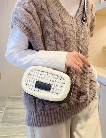 Fashion White Woolen Chain Shoulder Bag
