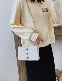 Fashion White Plush Chain Shoulder Bag