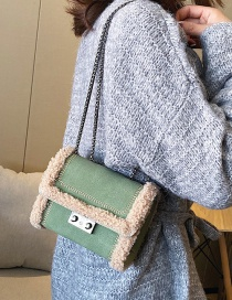 Fashion Green Number Plush Stitched Frosted Chain Cross-body Shoulder Bag