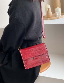 Fashion Red Stone Pattern Wide Shoulder Strap Shoulder Bag