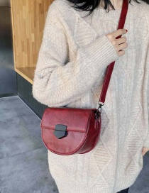 Fashion Red Wine Wide Shoulder Strap Semi-circular Shoulder Crossbody Bag