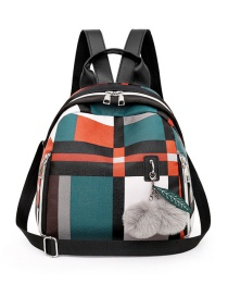 Fashion Cyan Ribbon Pendant Contrast Check Backpack