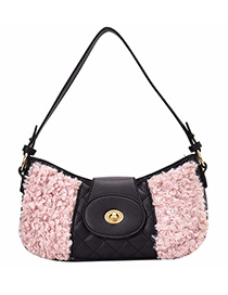 Fashion Pink Furry Soft-face Stitching Diamond One-shoulder Diagonal Cross-body Bag