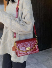 Fashion Red Wine Diamond Chain One Shoulder Crossbody Bag