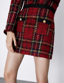 Fashion Red Plaid A-line Skirt