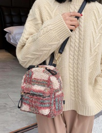 Fashion Red Plush Contrast Checked Backpack