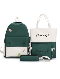 Fashion Dark Green Canvas Letter Print Contrast Stitching Backpack Four Piece Set