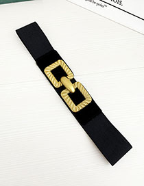 Fashion Black Alloy Elastic Band Square Belt