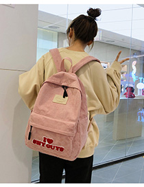 Fashion Pink Labeled Contrast Canvas Canvas Backpack