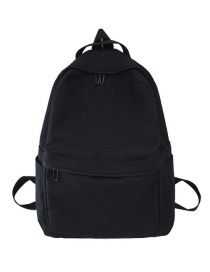 Fashion Black Contrast-stitched Canvas Backpack