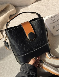 Fashion Texture Black Rhombus Panel Shoulder Bag