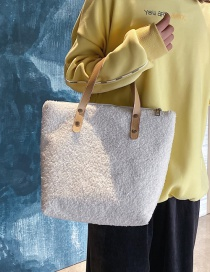 Fashion White Lambskin Contrast Shoulder Bag