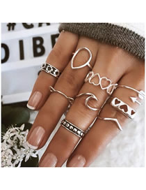 Fashion Silver Love Flower Hollow Ring Set