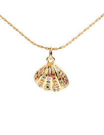 Fashion Golden Engraved Scallop Necklace With Diamonds
