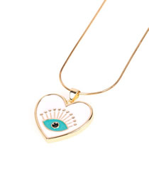 Fashion White Dripping Eye Love Necklace