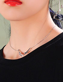 Fashion Bat Necklace Pearl Diamond Wing Necklace