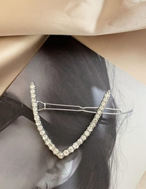 Fashion V V-shaped Hair Clip With Diamonds