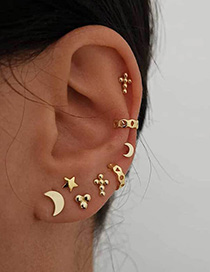 Fashion Golden Star Moon Cross Geometric Stud Earrings Set