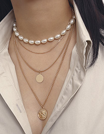 Fashion Gold 2719 Pearl Embossed Cherub Multilayer Geometric Necklace