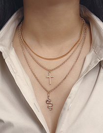 Fashion Golden 2657 Pearl Cross Snake Necklace