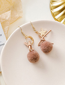 Fashion Pink Brown Plush Star Moon Bow Earrings