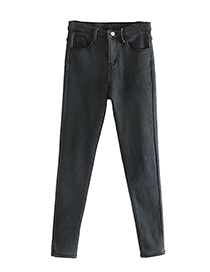 Fashion Dark Gray Velvet Jeans