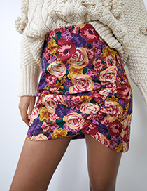 Fashion Color Printed Pleated High Waist Skirt