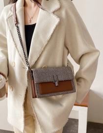 Fashion Brown Checked Woolen Chain Shoulder Bag