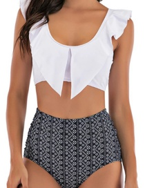Fashion White Trousers Ruffled Printed Pleated High Waist Split Swimsuit