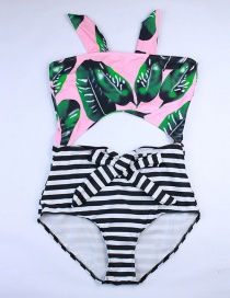 Fashion Pink Printed Striped High Waist One-piece Swimsuit
