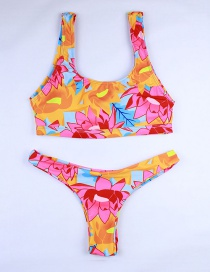 Fashion Rose Red Printed High Waist Split Swimsuit