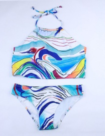 Fashion Navy Blue Wave Print Sling Split Swimsuit