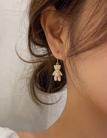 Fashion Golden Cubic Zircon Bear Earrings