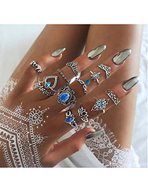 Fashion Silver Turtle Love Crown Flower Geometric Rings Set