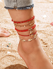 Fashion Red Shell Fish Starfish Rope Anklet Set