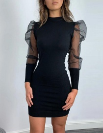 Fashion Black Sheer Mesh Sleeve Round Neck Patchwork Dress