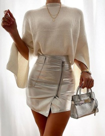 Fashion Silver High-waist Asymmetric Zip Skirt