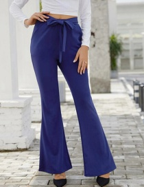 Fashion Blue High Waist Bow Tie Flared Pants