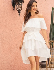 Fashion White Off-the-shoulder Ruffled Strapless Backless Irregular Dress