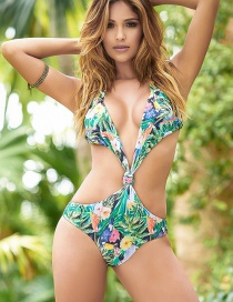 Fashion Green Printed Knotted Open Chest Halter Conjoined Swimwear