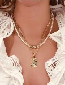 Fashion Golden Alphabet Word Combination Square Hollow Alloy Necklace
