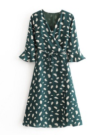 Fashion Green Floral Print Flared Sleeves Wrap Wrap Dress