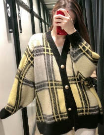 Fashion Yellow Plaid Printed Single-breasted V-neck Sweater Cardigan
