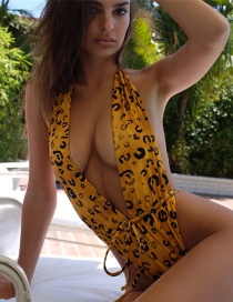 Fashion Yellow Deep V Print Lace Up One Piece Swimsuit