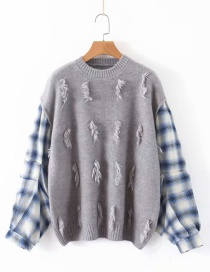 Fashion Gray Plaid Printed Patchwork Knitted Sweater