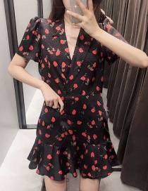Fashion Black Flower Print Double-breasted Lapel Lace Up Jumpsuit