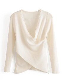Fashion Beige Pearl Cross Stitching V-neck Sweater