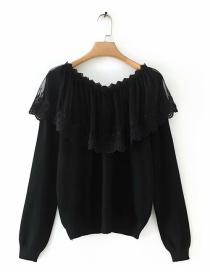 Fashion Black V-neck Knitted Sweater With Mesh Lace